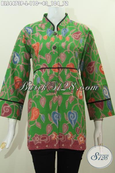 Batik Blus Hijau Motif Bunga, Produk Baju Batik Istimewa Khas Jawa Tengah Trend Masa Kini Desain Kerah Shanghai Kwalitas Halus Tampil Lebih Bergaya, Size L