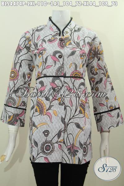 Baju Blus Batik Kerah Shanghai Plisir Polos Motif Terkini, Pakaian Batik Printing Wanita Dewasa Ukuran XL Yang Mampu Bikin Penampilan Cewek Lebih Modis Dan Gaya