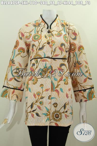Di Jual Online Produk Blus Batik Terbaru Model Kerah Shanghai Plisir Polos Motif Bunga Proses Printing, Baju Batik Berkelas Modis Buat Kerja Dan Keren Untuk Hangout, Size S – XL