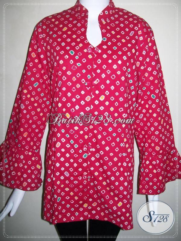 Blus Batik Wanita Terbaru Warna Merah Dijual Online