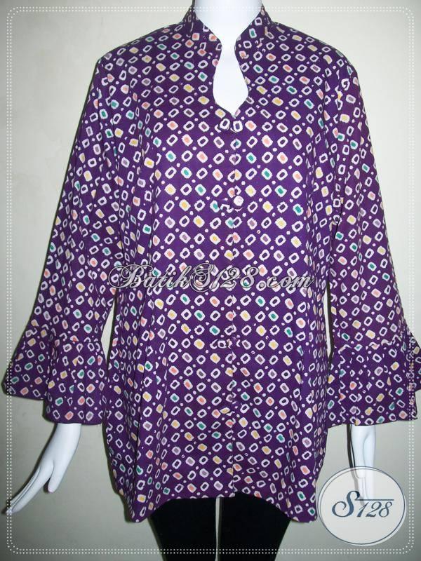 Baju BAtik Motif Jumputan Asli Batik Solo,Blus Batik Wanita Masa Kini Model Terbaru [BLS501C-XXL]