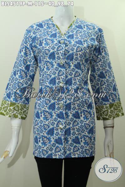 Jual Busana Batik Blus Model Terkini Plisir Kombinasi, Baju Batik Kera V Motif Trendy Proses Printing Untuk Tampil Mewah Dengan Harga Murah Meriah [BLS4519P-M]