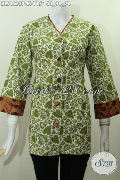 Busana Batik Perempuan Muda Untuk Seragam Kerja Dan Acara Formal, Pakaian Batik Plisir Kombinasi Dengan Kerah Model V Sempurnakan Penampilan Lebih Modis Dan Berkelas [BLS4520P-M]