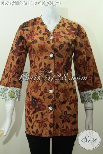Busana Batik Blus Plisir Kombinasi Kerah V, Pakaian Batik Formal Desain istimewa Bahan Halus Motif Proses Printing Untuk Penampilan Terlihat Berkelas, Size M