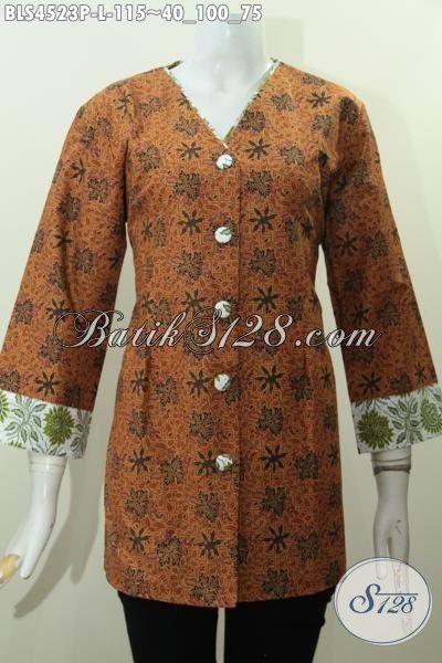 Batik Blus Size L Warna Klasik Nan Elegan, Pakaian Batik Plisir Kombinasi Dengan Kerah Model V Bahan Halus Proses Printing Cewek Terlihat Berkelas [BLS4523P-L]