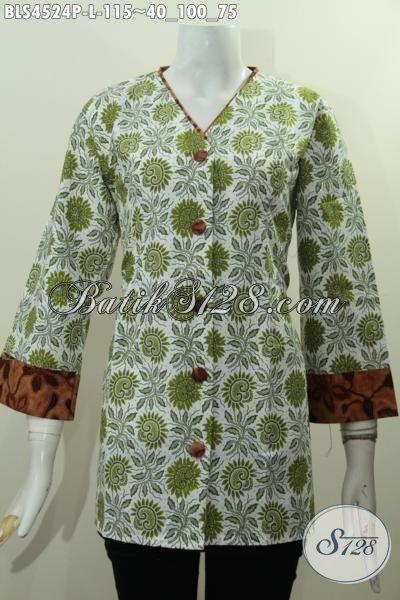 Jual Produk Batik Elegan Desain Mewah Model Plisir Kombinasi Kerah V, Baju Batik Modern Motif Trendy Proses Printing Untuk Penampilan Lebih Anggun [BLS4524P-L]