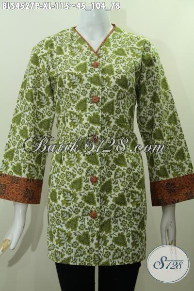 Produk Terbaru Busana Batik Trendy Warna Hijau Kwalitas Bagus Proses Printing, Baju Blus Plisir Kombinasi Kerah V Untuk Penampilan Cantik Mempesona, Size XL