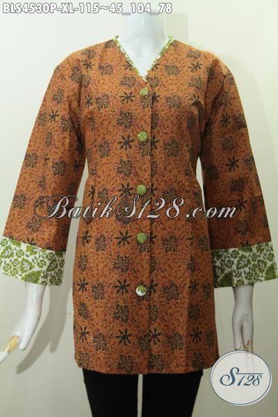Baju Hem Batik Elegan Lengan tujuh Perdelapan, Baju Batik Blus Plisir Kombinasi Kerha V Motif Bagus Proses Printing  Modis Untuk Acara Formal, Size XL