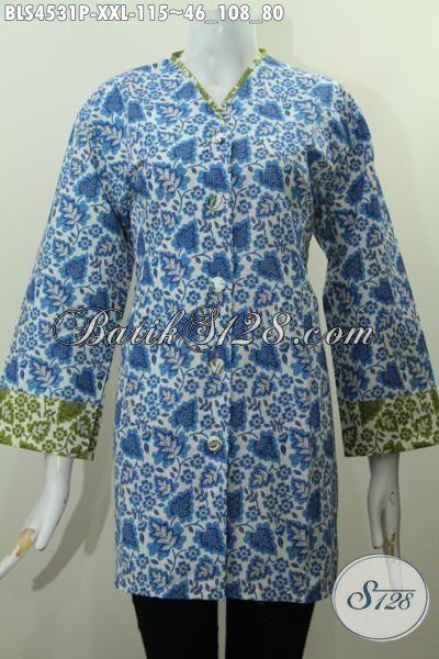 Busana Batik Blus Untuk Wanita Gemuk, Baju Batik Plisir Ukuran Jumbo Model Kerah V Warna Biru Motif Unik Proses Printing Bisa Untuk Seragam Kerja, Size XXL