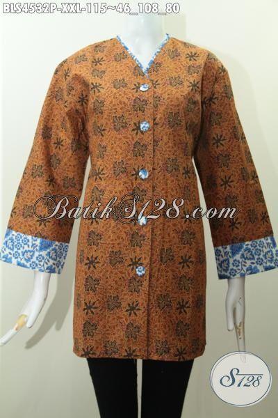 Baju Batik Elegan Ukuran 3L, Blus Batik Plisir Kerah V Warna Klasik Desain Berkelas Motif Terbaru Proses Printing Di Jual Online Harga 115K, Size XXL