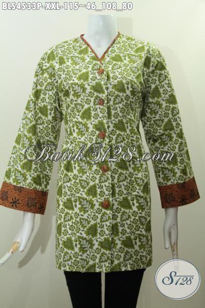 Blus Batik Plisir Kerah V Warna Hijau Kwalitas Bagus Ukuran XXL, Busana Batik Istimewa Trend Masa Kini Desain Berkelas Proses Printing Wanita Gemuk Penampilan Lebih Bergaya