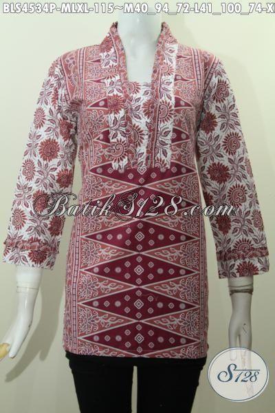 Blus Batik Elegan Desain Mewah Berpadu Motif Berkelas Yang Membuat wanita Tampil Mempesona, Baju Batik Model Resleting Belakang Modis Buat Kerja Dan Pesta, Size M – L