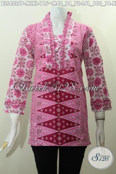 Baju Blus Istimewa Warna Pink, Produk Pakaian Batik Elegan Berbahan Halus Motif Klasik Proses Printing, Tampil Feminim Dan Anggun Hanya Dengan 100 Ribuan, Size M – XL