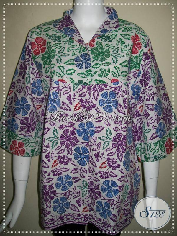 Baju Batik Wanita Elegan Warna Ungu Dan Hijau,Blus Batik Unik Asli Solo [BLS453C-L]