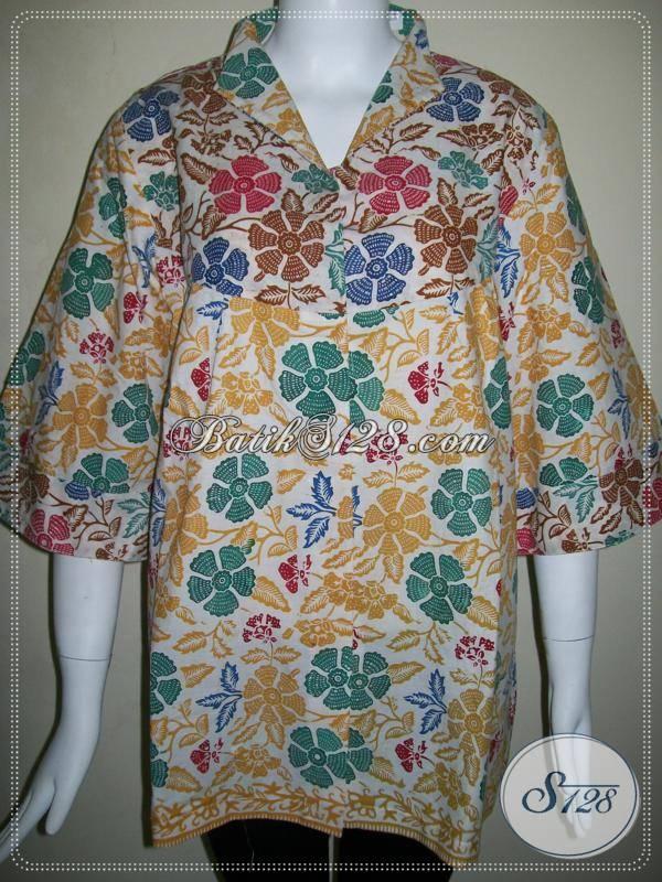 Baju Batik Wanita Lengan Tiga Perempat,Blus Batik Santai Wanita Elegan [BLS454C-XL]