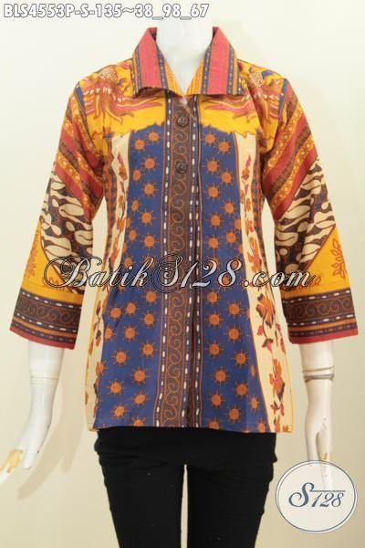 Blus Batik Formal Berbahan Halus Motif Sinaran Proses Print, Pakaian Batik Elegan Model Kerah Kotan Ukuran S Buat Wanita Muda Tampil Anggun Dan Rapi