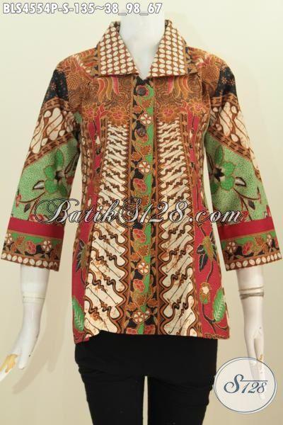 Baju Blus Batik Klasik Motif Sinaran Desain Trendy Kerah Kotak, Busana Batik Kwalitas  Bagus Proses Printing Hanya 135K, Size S