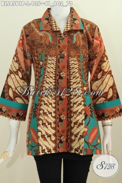 Produk Blus Batik Kerah Kotak Motif Klasik Sinaran Proses Print, Baju Batik Elegan Kwalitas Bagus Cocok Buat Acara Formal, Size L