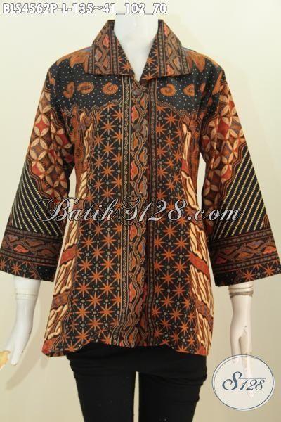 Busana Batik Klasik Warna Elegan Nan Mewah, Baju Batik Printing Model Kerah Kotak Untuk Wanita Karir Terlihat Rapi Dan Modis, Size L
