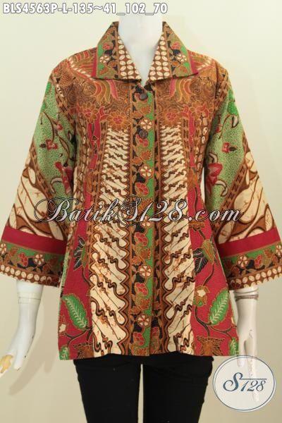 Blus Batik Motif Sinaran Proses Print, Pakaian Batik Formal Kerah Kotak Lebih Elegan Dan Modis Buat Seragam Kerja Wanita Karir, Size L