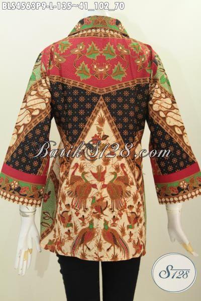 Pusat Baju Batik Online Khas Solo, Sedia Blus Kerah Kotam Motif Sinaran Proses Printing, Pakaian batik Istimewa Harga Biasa Tampil Mempesona [BLS4563P-L]