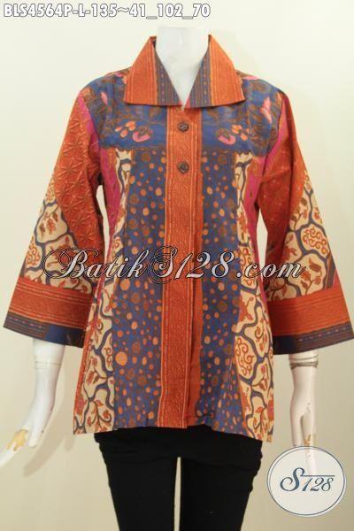 Baju Blus Elegan Model Kerah Kotak, Pakaian Batik kerja Wanita Karir Motif Sinaran Kwalitas Istimewa Harga Terjangkau Proses Printing, Size L