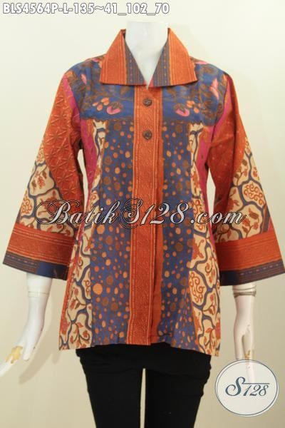 Blus Batik Ukuran L Buat Wanita Muda Dan Dewasa Dengan Desain Elegan Berpadu Kerah Kotak, Baju Batik Istimewa Harga 100 Ribuan Motif Sinaran Proses Print [BLS4564P-L]