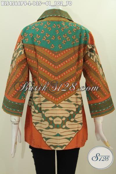 Sedia Baju Blus Kerah Kotak Motif Klasik Sinaran Proses Printing, Pakaian Batik Modis Dan Berkelas Untuk Penampilan Wanita Lebih Elegan Dan Mewah, Size L