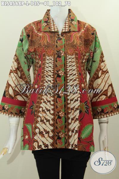 Pakaian Blus Elegan Modis Desain Terkini, Produk Baju Batik Wanita Motif Sinaran Trend Mode 2016 Untuk Tampil Beda Dan Stylish [BLS4568P-L]