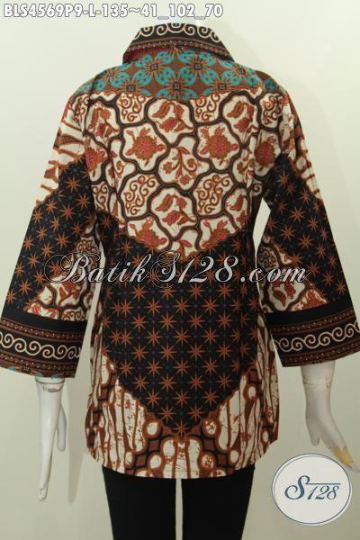 Online Shop Produk Batik Terlengkap, Sedia Busana Batik Jawa Elegan Kwalitas Bagus Motif Sinaran Proses Printing Model Kerah Kotak Untuk Acara Formal, Size L