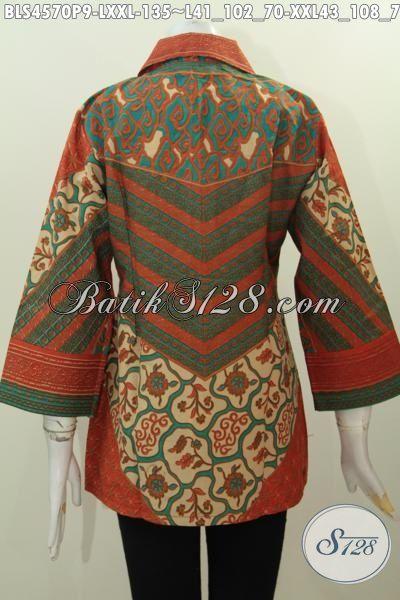Jual Online Blus Batik Kerah Kotak Istimewa, Pakaian Batik Berkelas Bahan Adem Proses Printing Buat Kerja Dan Kondangan Tampil Lebih Berkelas, Size L