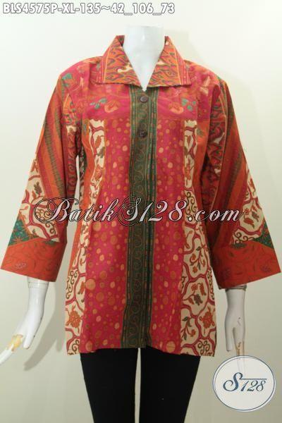 Sedia Baju Blus Batik Modis Halus Istimewa Trend Masa Kini, Pakaian Batik Kerja Wanita Karir Size L Motif Sinaran Kwalitas Bagus Tampil Mempesona, Size XL