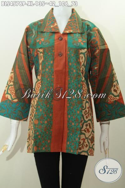 Baju Blus Batik Ukuran XL Buat Wanita Dewasa, Pakaian Batik Istimewa Desain Mewah Berbahan Adem Motif Sinaran Printing Harga 100 Ribuan