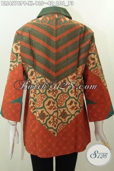 Pakaian Batik Wanita Dewasa Dengan Desain Mewah Kerah Kotak, Blus Batik Formal Warna Bagus Berkelas Berpadu Motif Klasik Sinaran Printing Tampil Lebih Elegan [BLS4576P-XL]