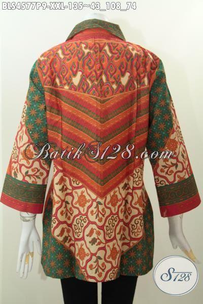 Sedia Baju Blus Batik Modis Istimewa Size XXL, Busana Batik Jumbo Wanita Gemuk Bahan Adem Motif Sinaran Proses Print Untuk Kerja Kantoran