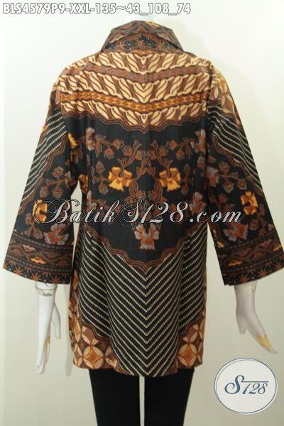 Baju Kerja Batik Klasik Perempuan Gemuk, Busana Blus Batik Size XXL Proses Printing Berbahan Adem Desain Kerah Kotak Penampilan Lebih Elegan Berkelas [BLS4579P-XXL]
