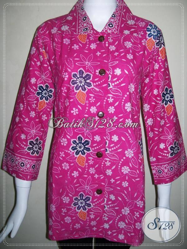 Baju Batik Wanita Ukuran L Blus Batik Kerja Kantor Wanita Modern 5be79ecb73