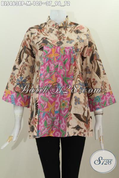 Jual Blus Batik Dual Motif Proses Printing Model Kerah Shanghai Pake Kancing Depan, Baju Batik Trendy Cocok Buat Hangout, Size M