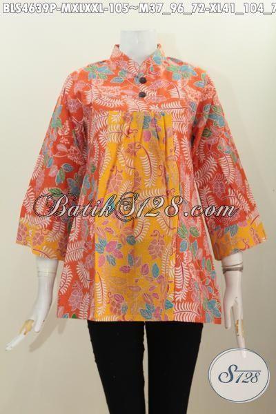 Jual Baju Batik Blus Modern Model Kerah Shanghai Pak Kancing, Busana Batik Keren Bahan Halus Proses Printing Motif Trendy, Size M – XL – XXL