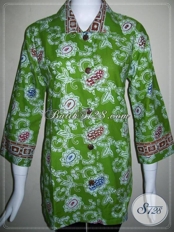 Blus Batik Untuk Wanita Pekerja KantorBaju Batik Warna Hijau Asli