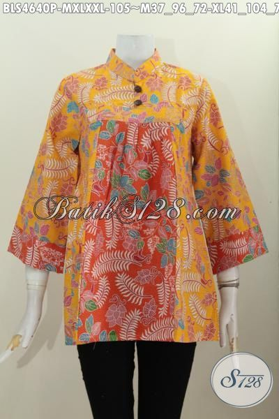 Blus Batik Modern Kerah Shanghai Warna Kuning Kombinasi Orange, Pakaian Batik Modern Halus Proses Printing Untuk Tampil Modis, Size M – XL – XXL