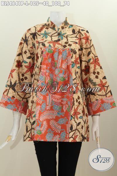 Jual Baju Batik Seragam Kerja Perampuan Karir, Produk Blus Batik Terbaru Model Kerah Shanghai Kwalitas Bagus Bahan Adem Motif Printing Halus [BLS4641P-L]