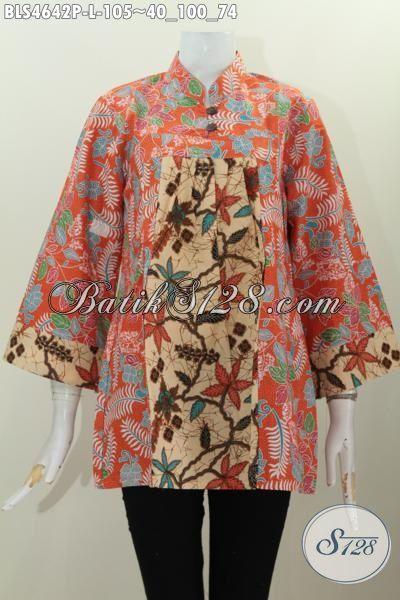 Busana Batik Halus Untuk Wanita, Baju Batik Blus Kerah Shanghai Kwalitas Bagus Proses Printing Motif Kombinasi Untuk Tampil Stylish, Size L
