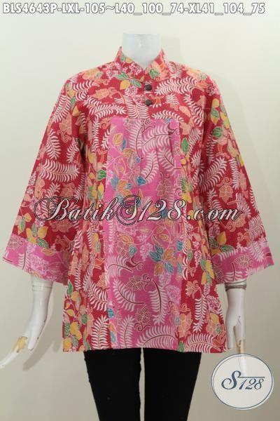 Pakaian Batik Blus Untuk Perempuan Dewasa, Baju Batik Keren Untuk Seragam Kerja Wanita Karir Berbahan Adem Motif Kombinasi Warna Menarik Proses Printing, Size L – XL