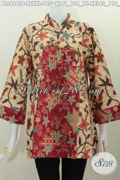Jual Online Busana Batik Wanita Dewasa Model Terbaru Kerah Shanghai Pake Kancing, Baju Batik Cewek Dewasa Trend Mode 2016, Size XL – XXL