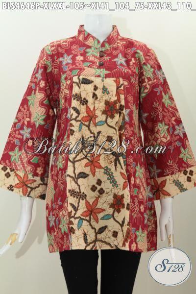 Blus Batik Elegan Ukuran Dewasa, Baju Batik Kerah Shanghai Modis Dilengkapi Kancing Depan Bahan Halus Proses Printing Harga 100 Ribuan, Size XL – XXL