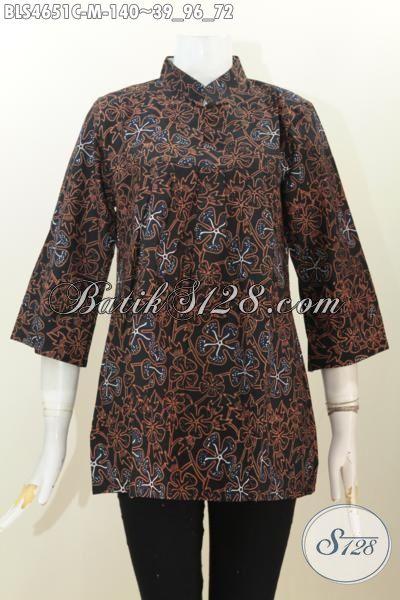 Blus Batik Keren Warna Bagus Kwalitas Halus, Baju Batik Proses Cap Model Kerah Shanghai Untuk Kerja Dan Pesta, Size M
