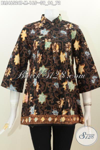 Produk Terbaru Dari Solo, Blus Kerah Shanghai Berbahan Batik Cap Tulis Motif Unik Dan Keren, Baju Batik Santai Kwalitas Bagus Harga 140K, Size M