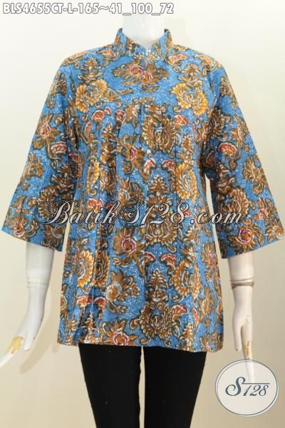 Agen Pakaian Batik Jawa Tengah Paling Up To Date, Sedia Blus Kerah Shanghai Dasar Biru Size L Motif Bagus Proses Cap Tulis 100 Ribuan