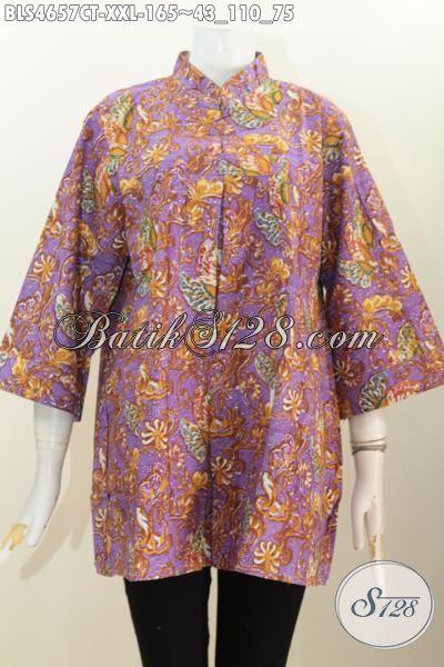 Baju Batik Kerah Shanghai Model Terkini Berbahan Halus Motif Unik Cap Tulis, Produk Pakaian Batik Berkelas Untuk Wanita Gemuk Bisa tampil Modis Dan Gaya, Size XXL
